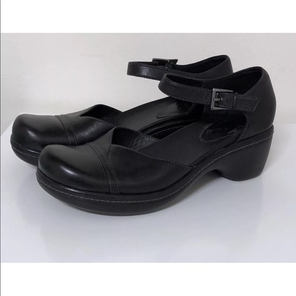 ECCO BLACK LEATHER MARY JANES SHOES EU 38 US 7